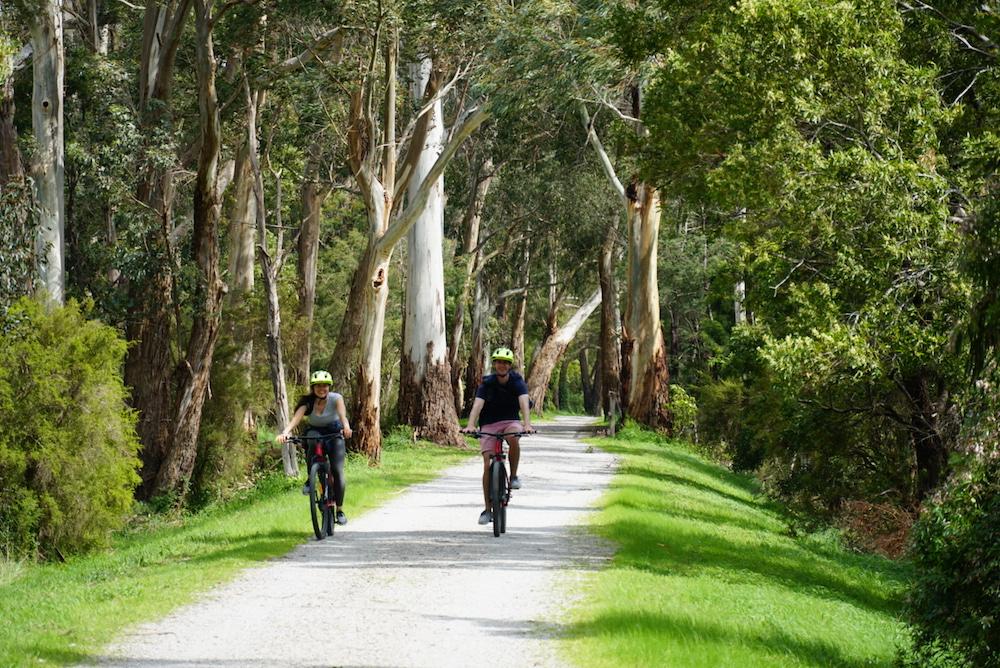 Happy cyclists on the Warburton Rail Trail