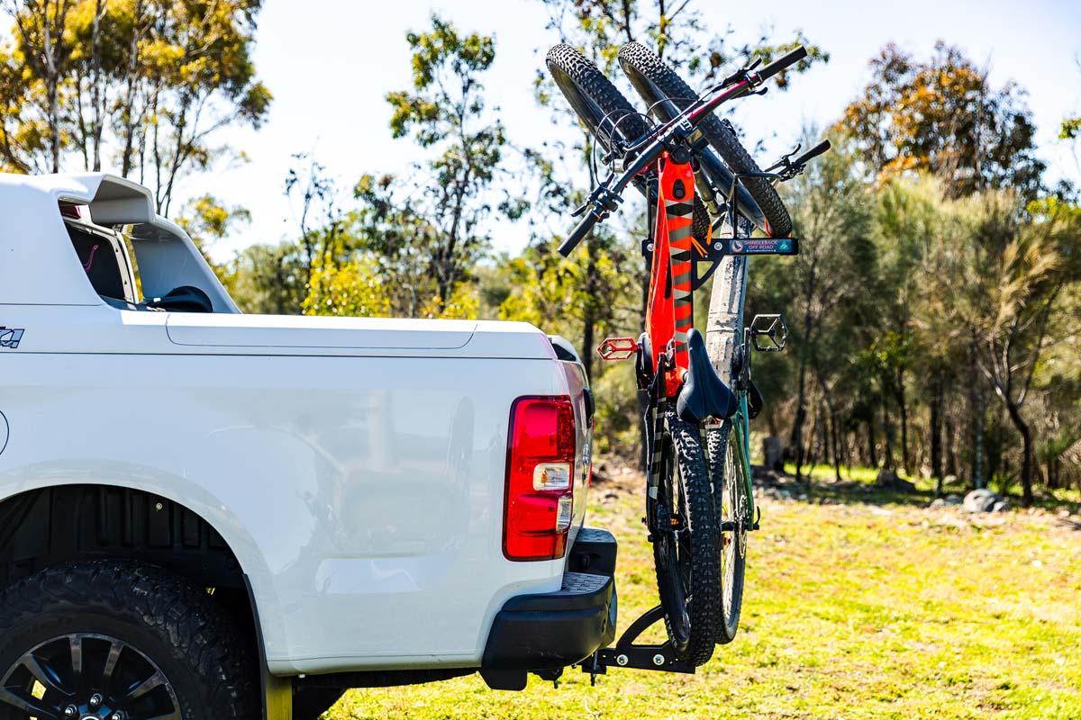 Shingleback 2 Bike Vertical Rack on Holden Colorado