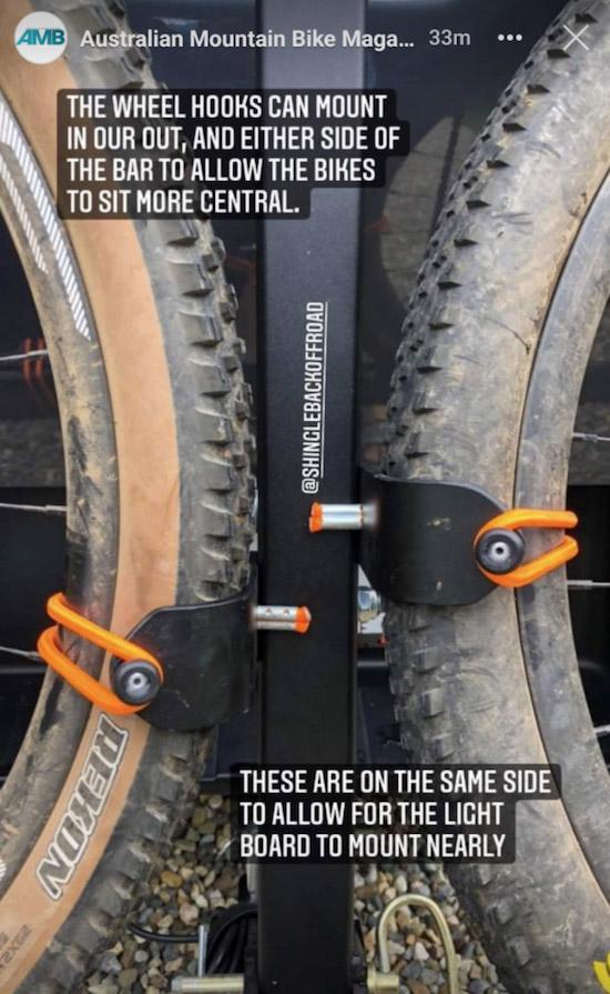 Zoomed in shot of mtb wheels secured on 2B90 rack
