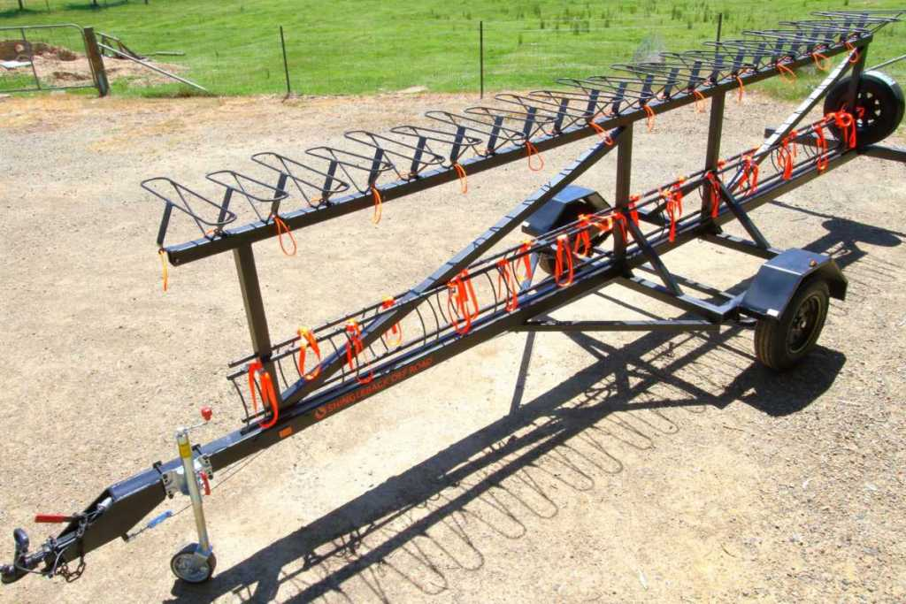 Top side view of the Shingleback MTB trailer that's designed for schools, tour operators and mtb parks