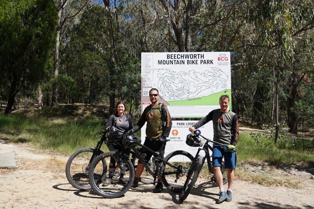 Andrew & Kimberley Taylor along with GM Philip Best at Beechworth Bike Park