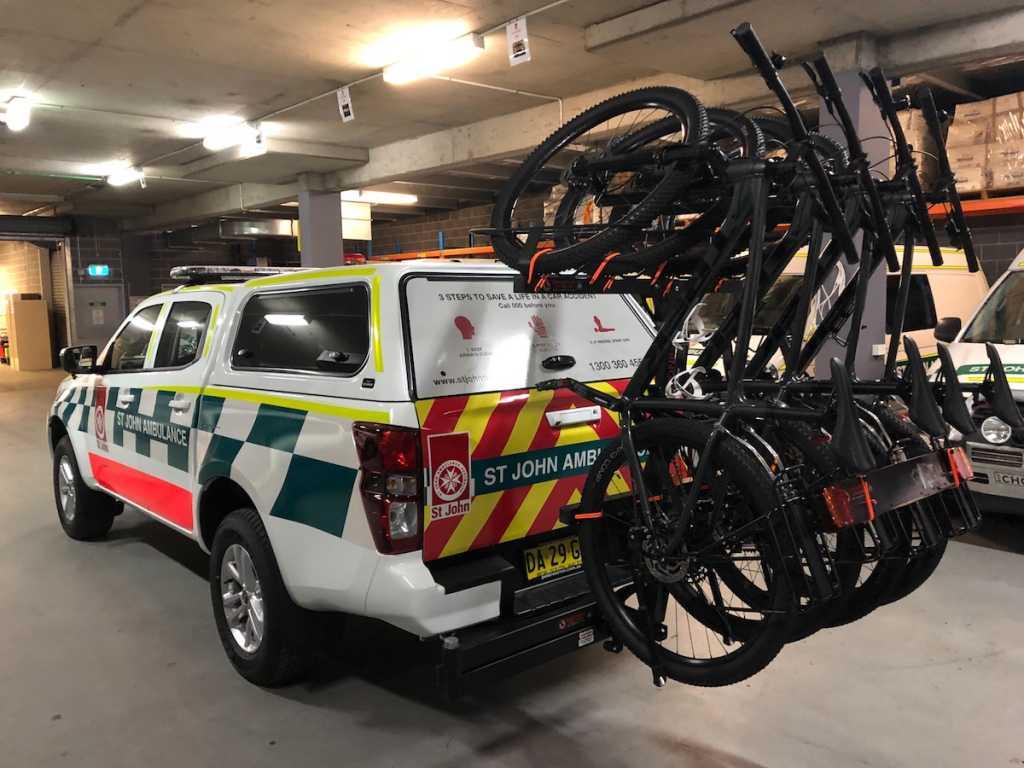 4 Bike Vertical MTB Rack on 4x4 Emergency Vehicle