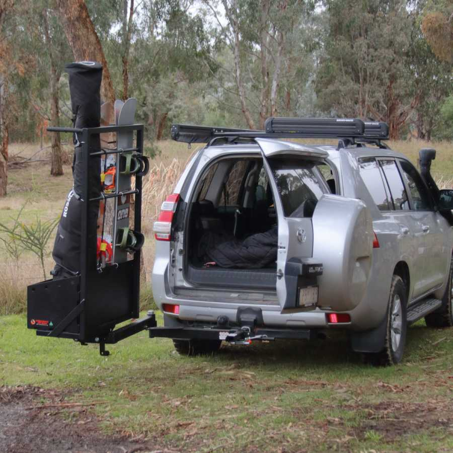 Hitch Mounted Ski & Snowboard Carrier with Swing Arm