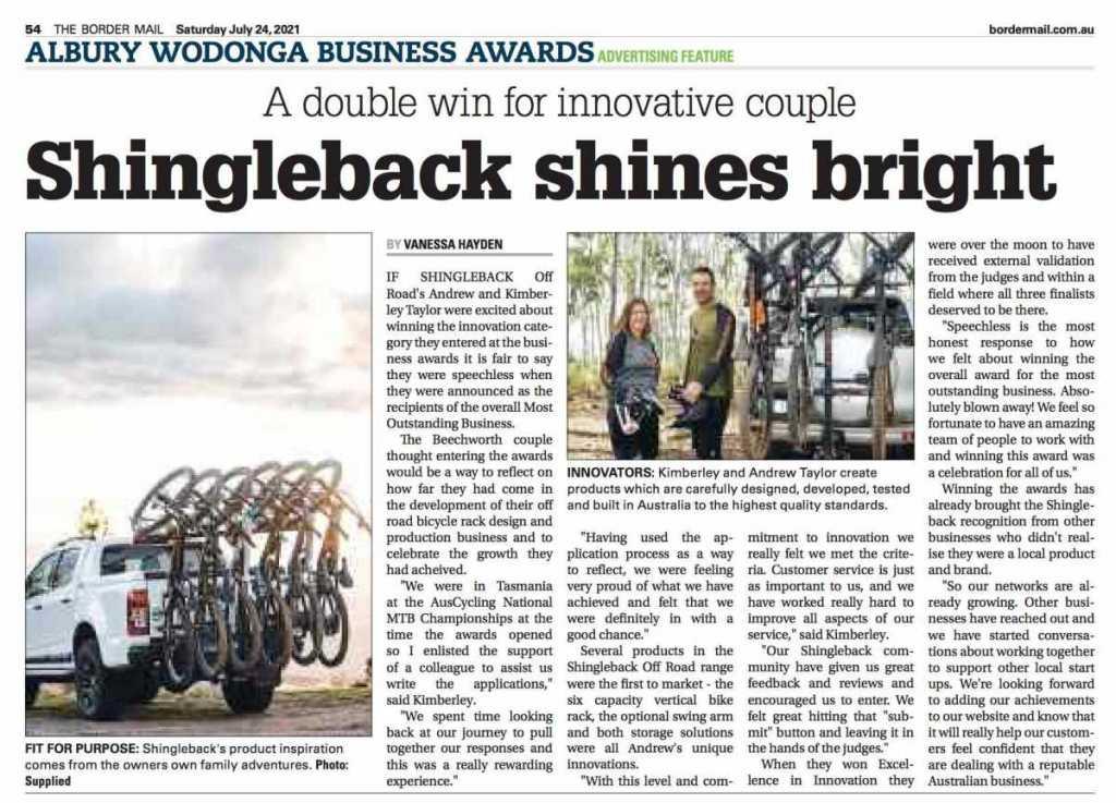 Shingleback Shines Bright - Border Mail Article